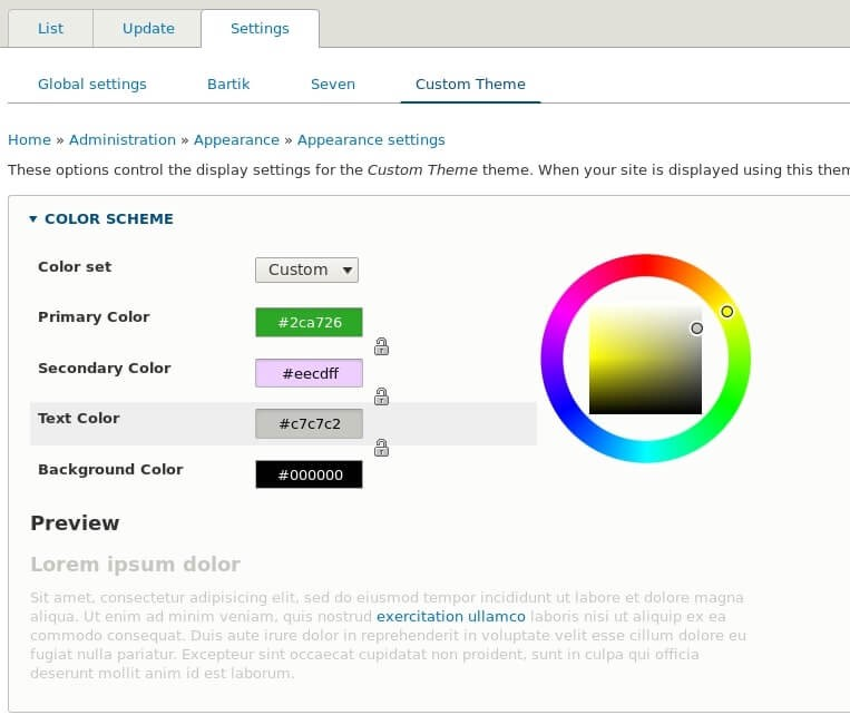Admin settings with color wheel